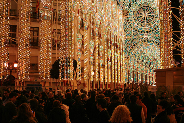 People in the streets for Las Fallas