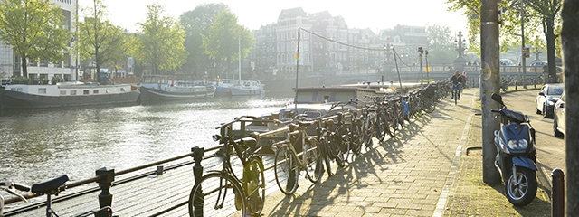 Amsterdam bikes and canals in the Netherlands