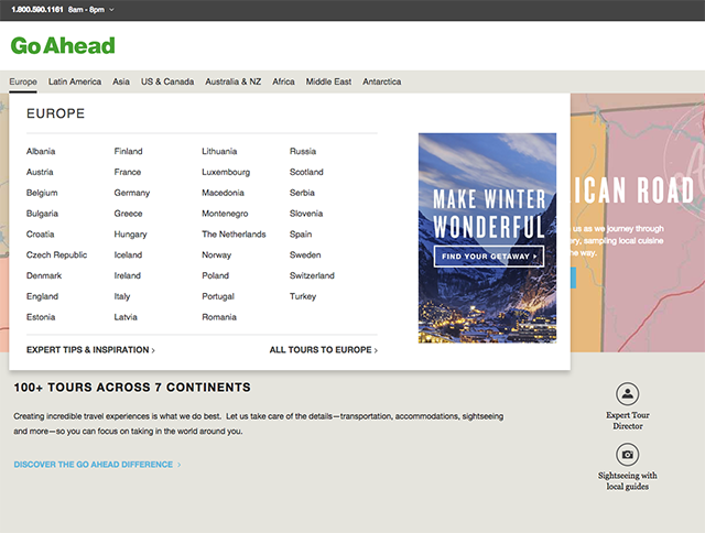 Our new Go Ahead Tours website has improved navigation