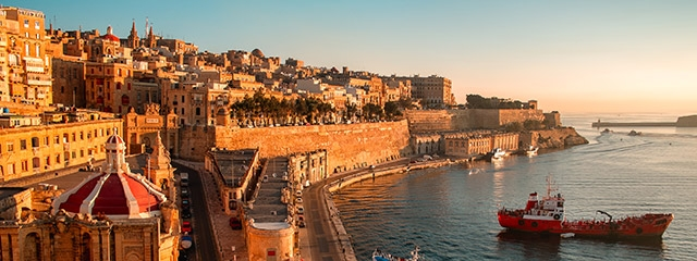 Valetta off the Maltese coast, Italy