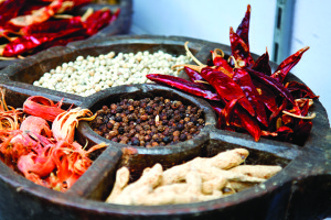 Indian spices at a market in Cochin