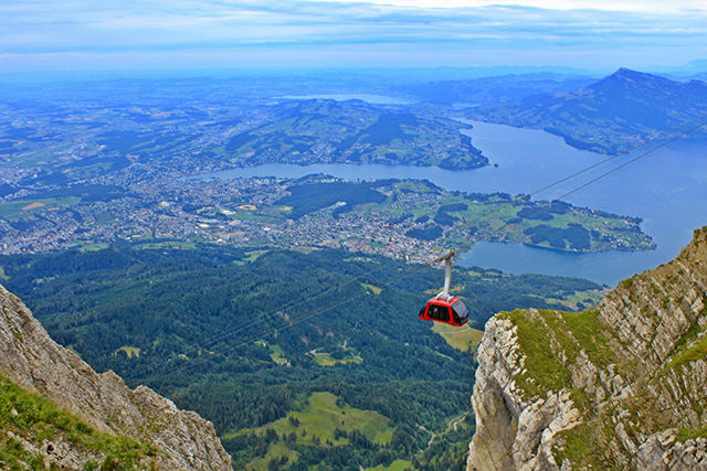 Take a gondola ride up Mount Pilatus in Switzerland