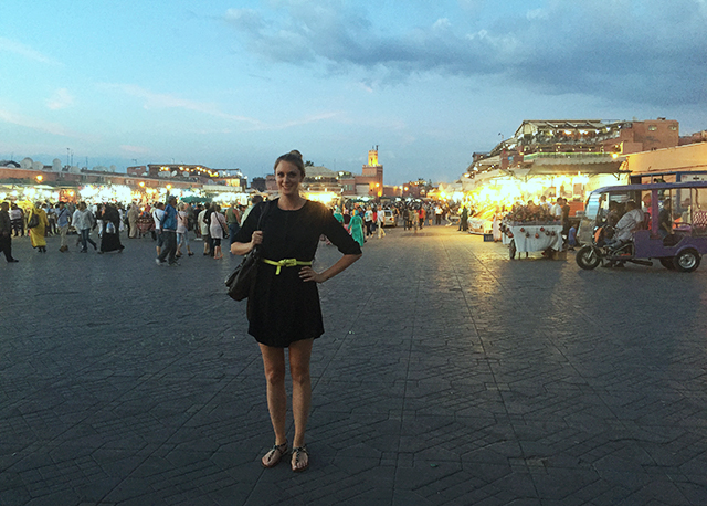 Amanda in the Marrakech markets at night