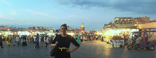 Amada at the Marrakech markets at night