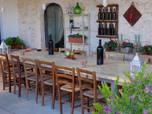 Eating lunch in Matera, Italy