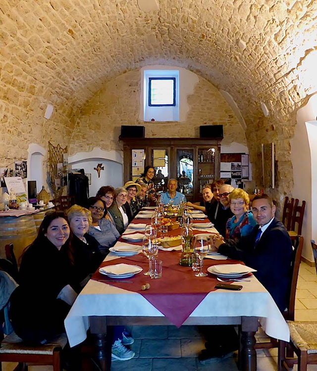 Group at dinner in Matera, Italy
