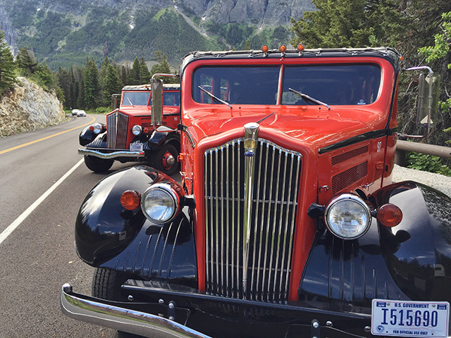 Red jammer cars at Glacier National Park