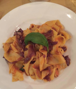 Pappardelle Amatriciana in Siena, Italy