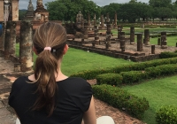 Enjoying views of Sukhothai Historical Park, a UNESCO World Heritage site