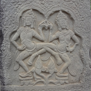"""A popular """"dancing ladies"""" motif carved into sandstone at one of many historic temples outside Siem Reap"""