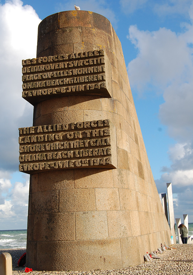 A memorial at Omaha Beach