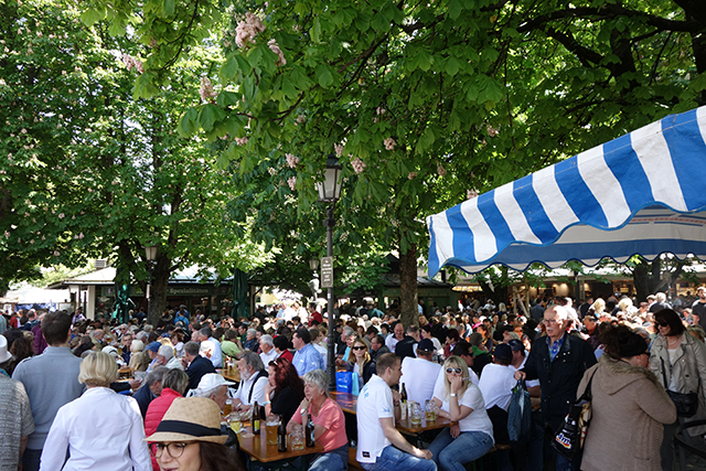 Traditional biergarten in Munich, Germany