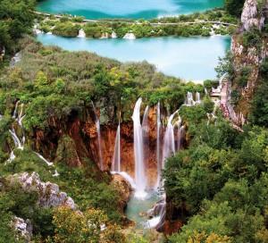 The waterfall at Lake Pltivice, Croatia