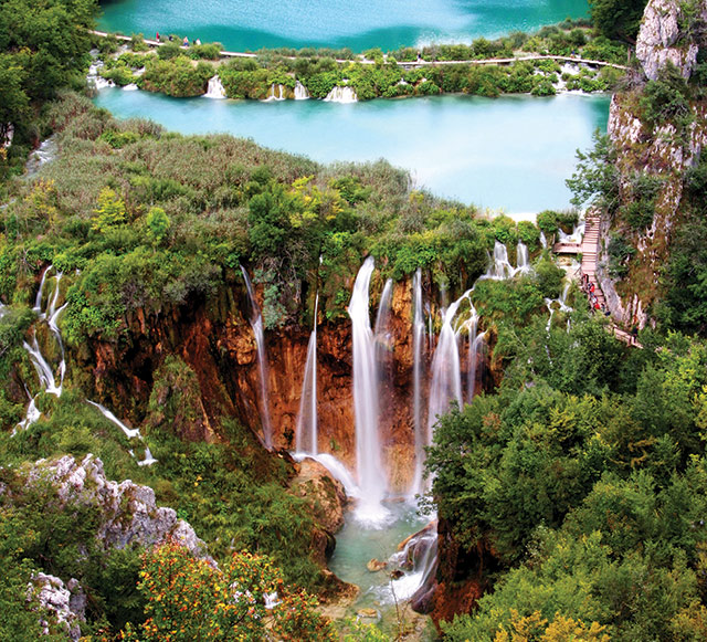 The waterfall at Lake Pltivice, Croatia