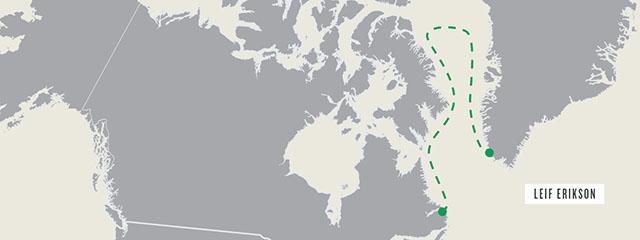 Leif Erikson's route to Newfoundland