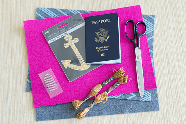 DIY passport cover supplies