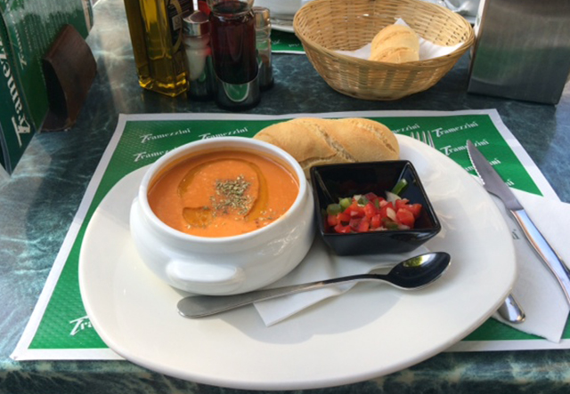 Gazpacho for lunch in Granada, Spain