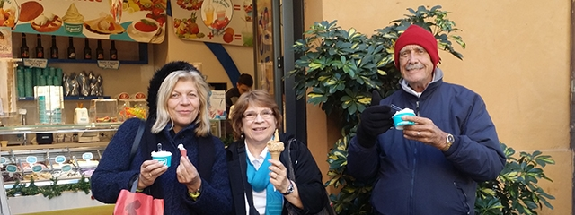 Eating gelato in Rome, Italy