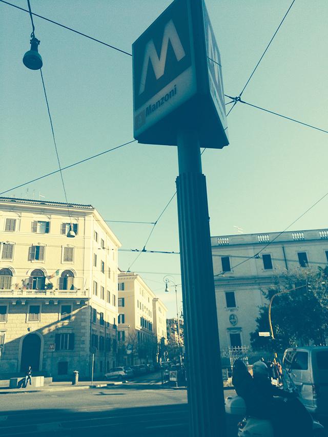 Metro stop in Rome, Italy
