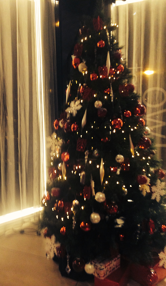 Christmas tree in the hotel room