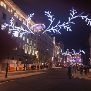 Christmas lights in London, England