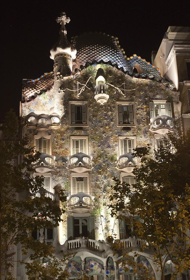 Gadui's Casa Batlo at night in Barcelona, Spain