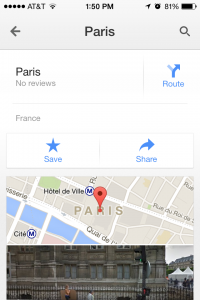 Paris info screen Google Maps