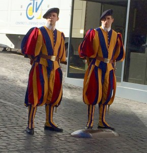 Swiss Guards at St. Peter's Square in Rome, Italy