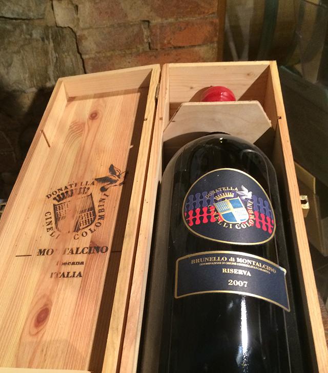 Brunello wine in Montalcino, Italy