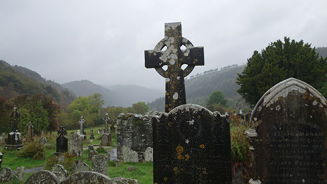 Glendalough cemetery in County Wicklow, Ireland