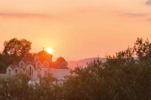 An orange sunset over Athens