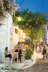 Enjoying a meal outdoors in Mykonos, Greece