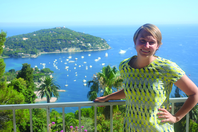 Staff member Jenny H. in Nice on the Grand Tour of France