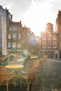 Enjoying a late-afternoon beer in Amsterdam