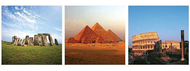 Stonehenge-England-Pyramids-Giza-Colosseum-Rome