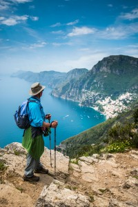 Looking down at Positano from the Path of the Gods Cliffside