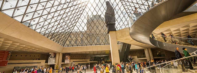 Inside the Louvre in Paris, France