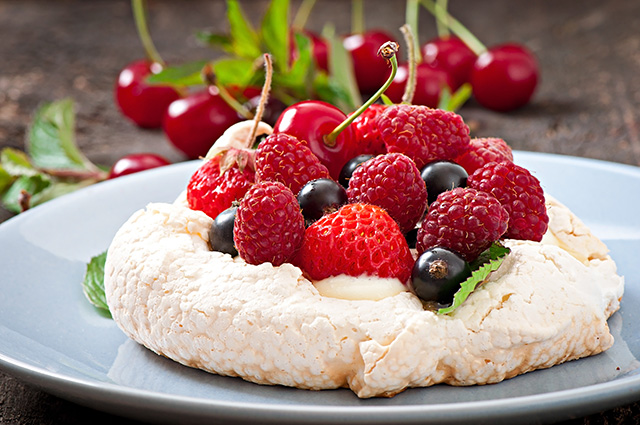 Australian pavlova is made with meringue and berries