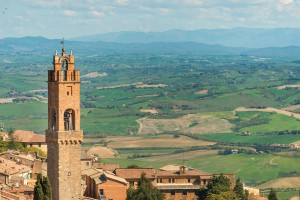 Ruddy rooftops and a sky-scraping tower in Montalcino