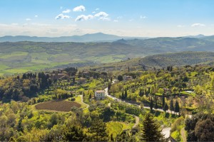 The Tuscan hilltown of Montalcino, known for its famous Brunello di Montalcino wine