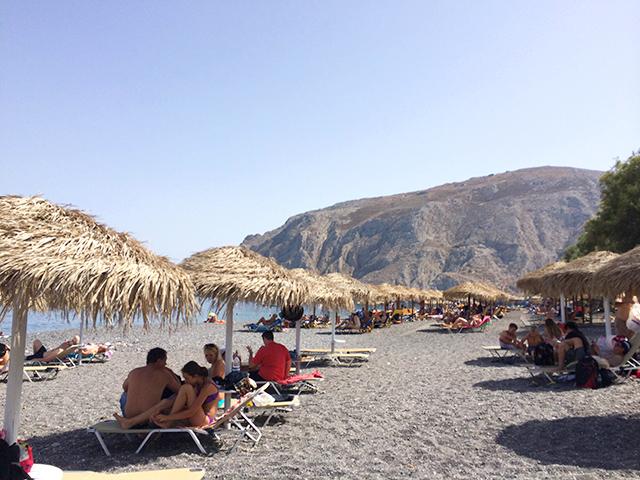 Beach huts in Santorini, Greece