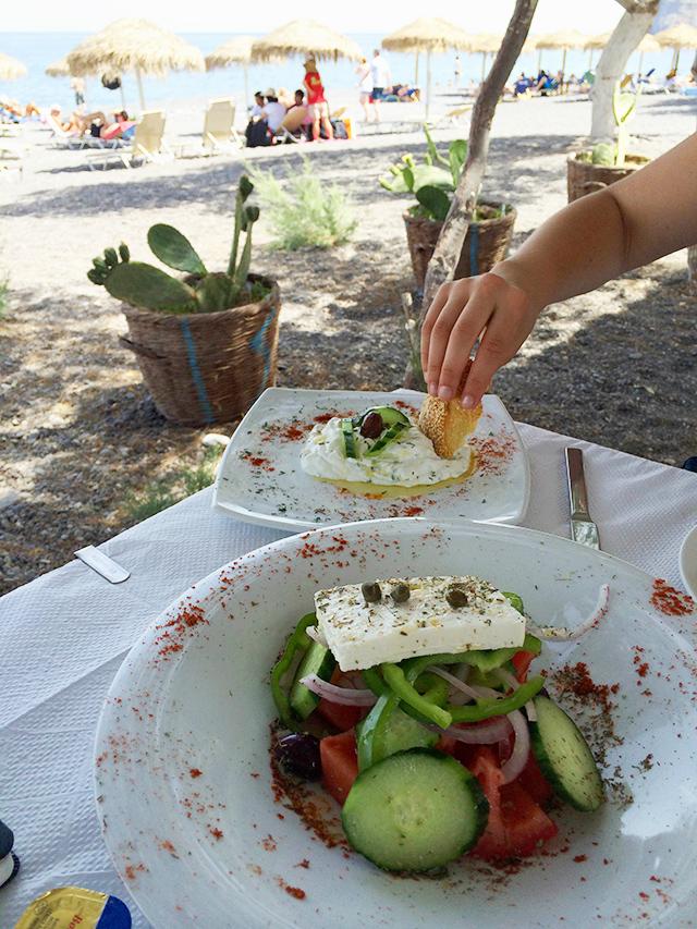 lunch in Santorini, Greece