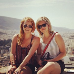 Jenna and Jessie at the Acropolis