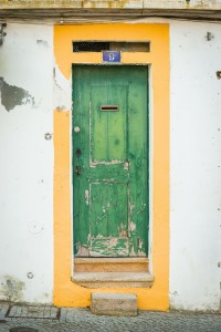 A quaint and colorful door in Évora