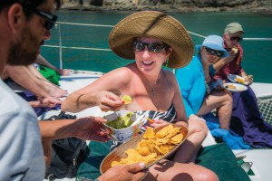 Taking a snack break on board the boat