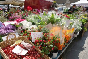 Italy farmers' market flowers