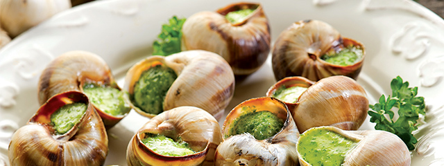 A French specialty food: escargot