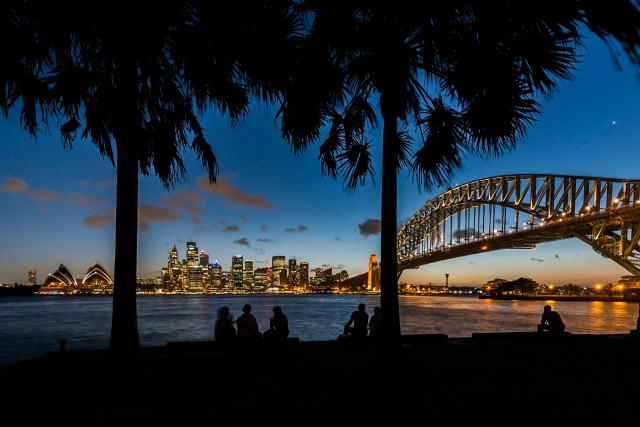 Sydney Harbor lit up at night