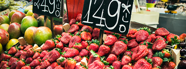 strawberries in a market in Spain