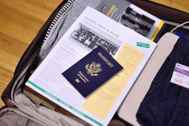 passport in suitcase